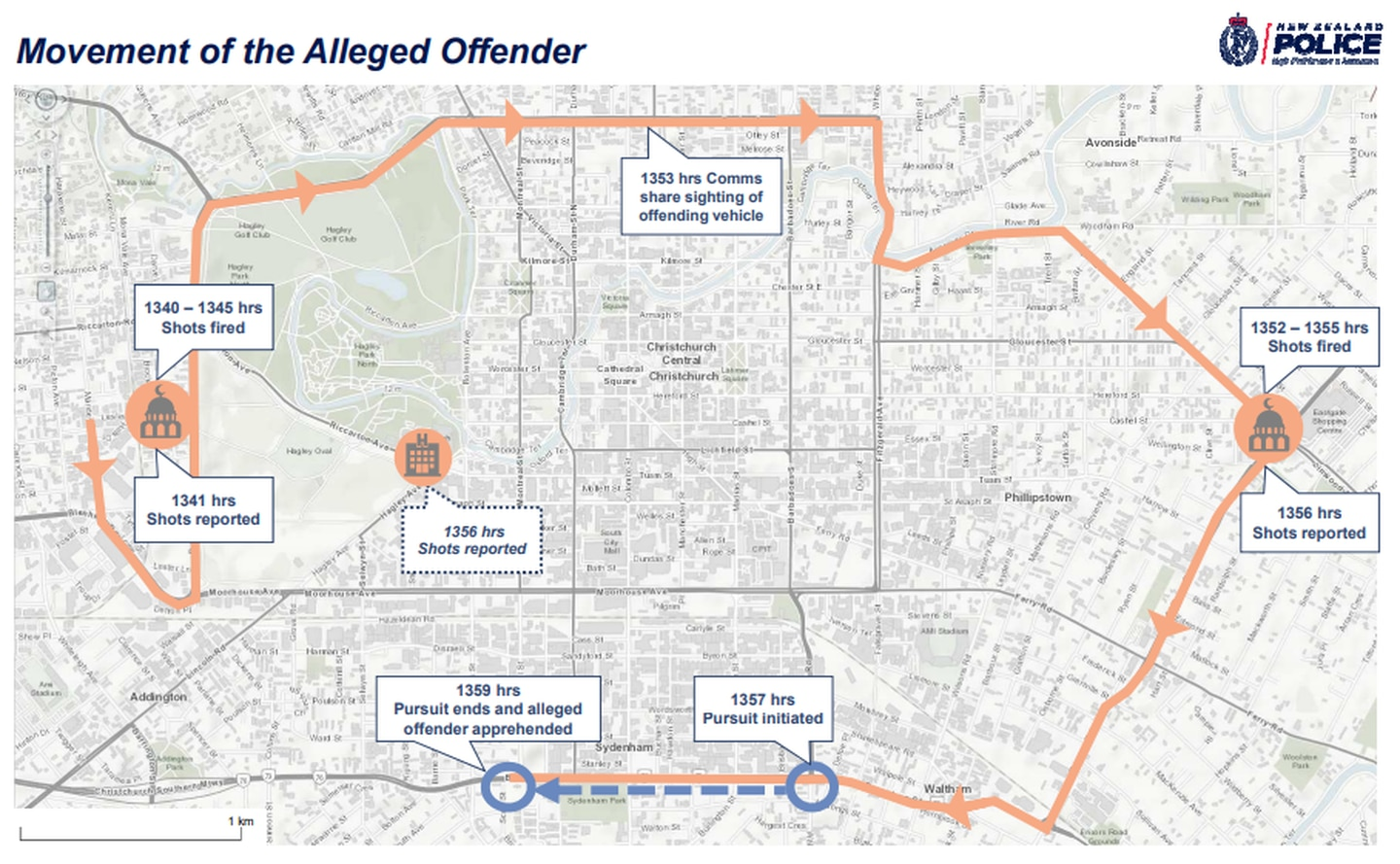 Police today released this map and timeline of the March 15 terror attacks in Christchurch. Image / NZ Police