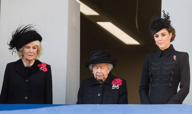Camilla, Duchess of Cornwall, Queen Elizabeth II and Catherine, Duchess of Cambridge attend the annual Remembrance Sunday memorial at The Cenotaph. Photo / Getty Images