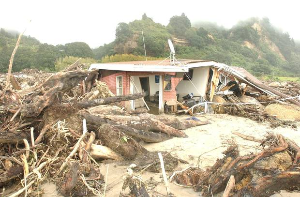 The mangled remains of a house after the Matata flooding. Photo / File
