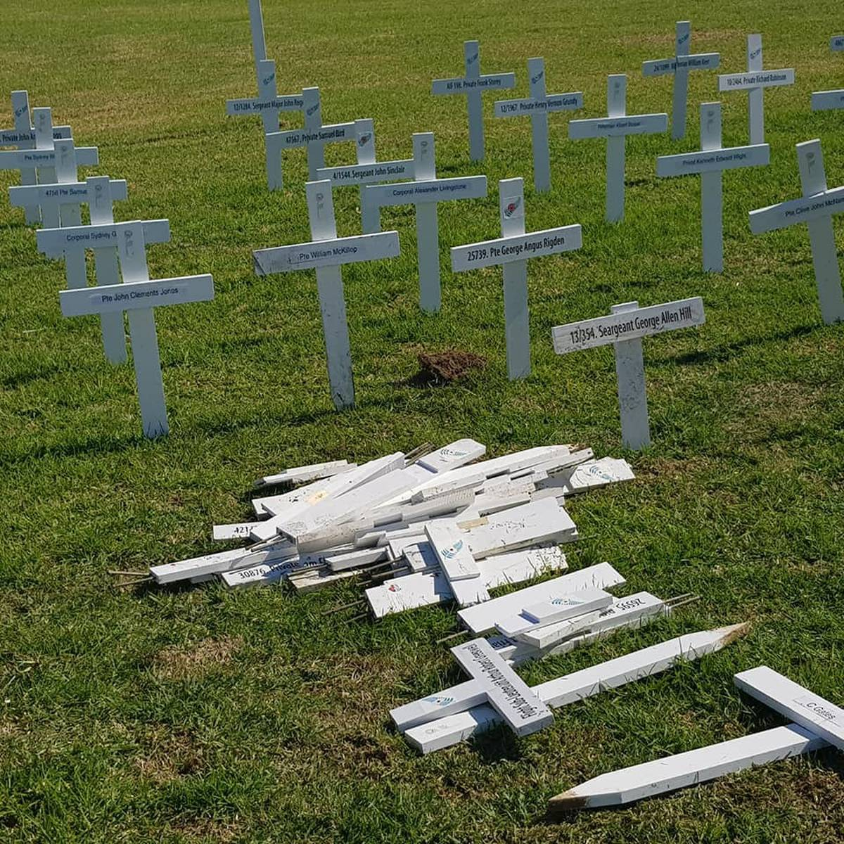 this-is-a-serious-offence-to-our-beautiful-town-vandals-in-huntly-destroy-anzac-day-memorial-crosses