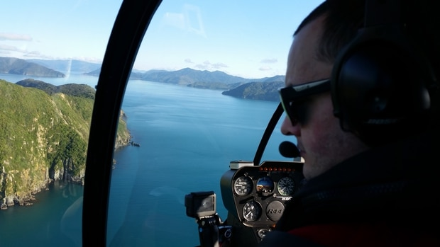 Townsend and his partner were flown by helicopter to the Marlborough Sounds to stay at the Bay of Many Coves resort. Photo / Supplied