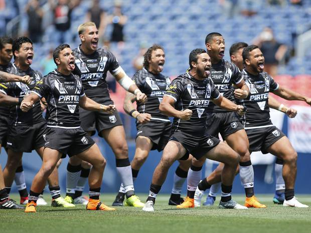 The New Zealand squad performs a haka prior to a Rugby League Test Match between England and the New Zealand Kiwis. Photo / Getty Images.