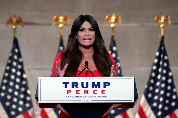 Kimberly Guilfoyle speaks as she tapes her speech for the first day of the Republican National Convention from the Andrew W. Mellon Auditorium in Washington. Photo / AP