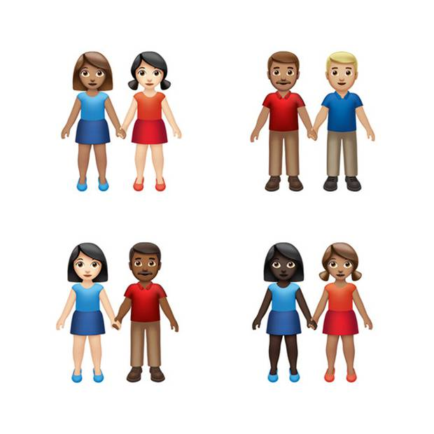 Users will be able to select any combination of skin tone and gender to customise the people holding hands. Photo / Apple