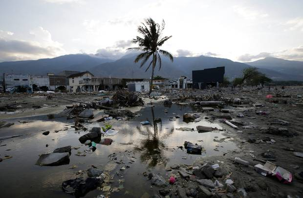 Structures have been totally wiped out after a massive earthquake and tsunami hit Palu Central Sulawesi Indonesia