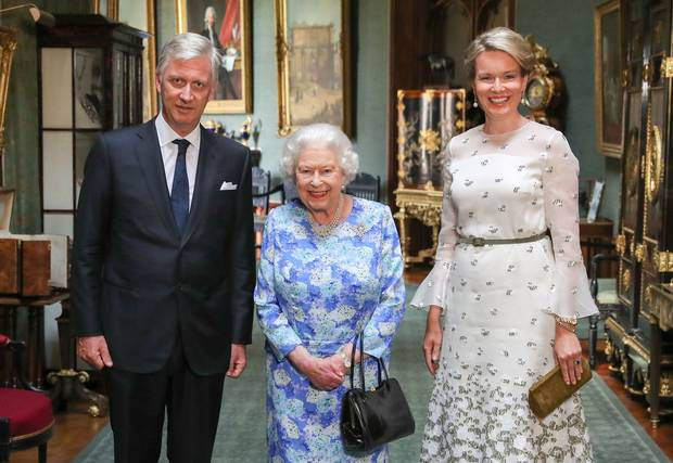 Queen Elizabeth II poses with King Philippe of Belgium and Queen Mathilde of Belgium at Windsor Castle. Photo / Getty Images
