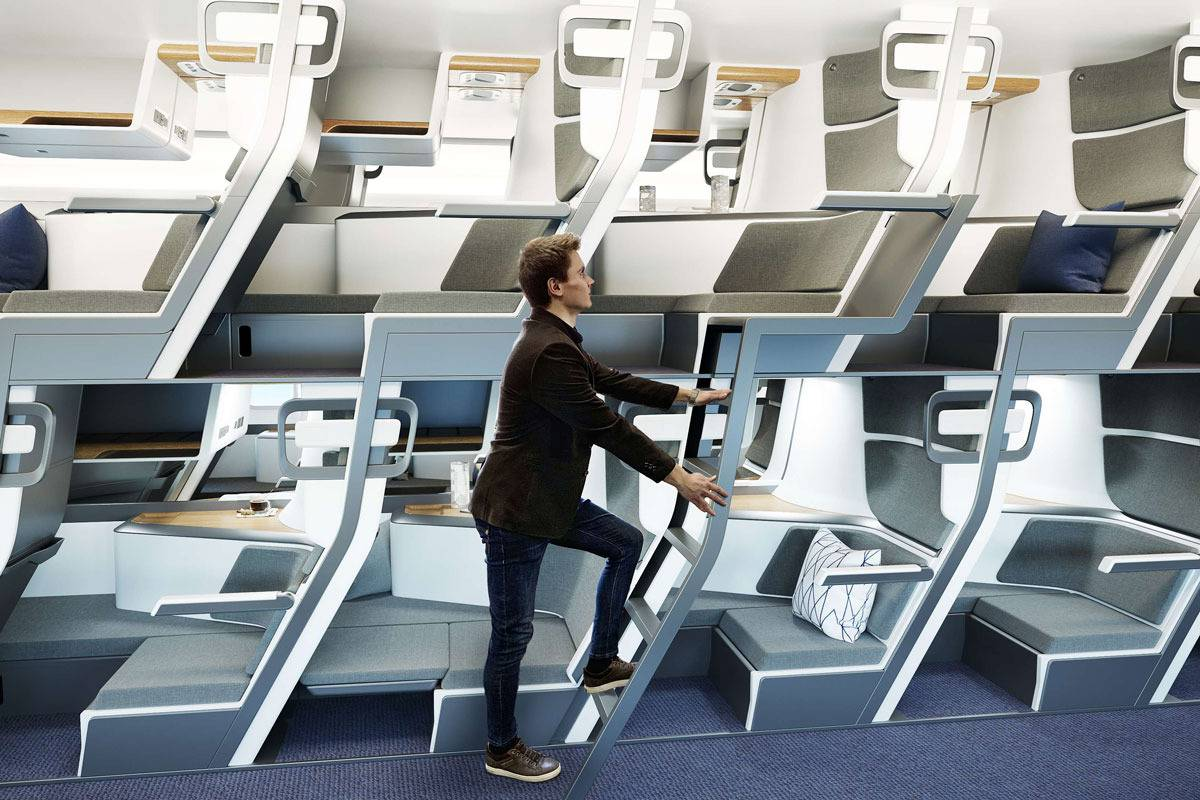 Double-decker airplane seats and lie-flat beds to solve distancing woes