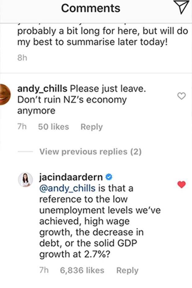 Jacinda Ardern clapped back at one critic, schooling him with facts. Photo / Instagram
