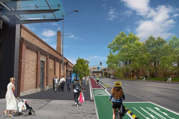 Artist's impressions of the Victoria St cycleway in Auckland CBD, looking towards Beaumont St. Photo / Supplied