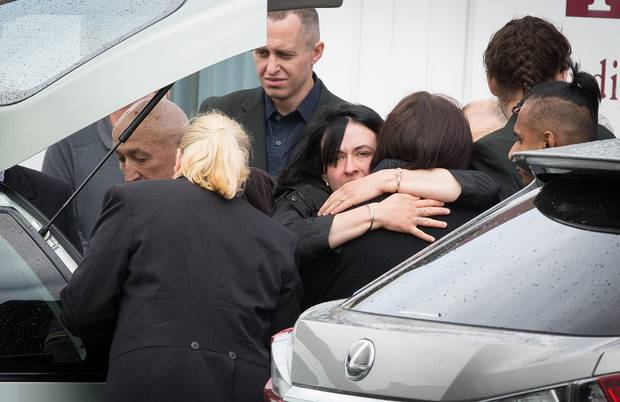 Mourners at the funeral of Artemiy Vldimirovich Dubovskiy yesterday. Photo / Martin Hunter