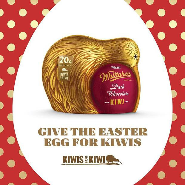 Whittaker's Easter egg is shaped as a Kiwi. Photo / Whittaker's Facebook