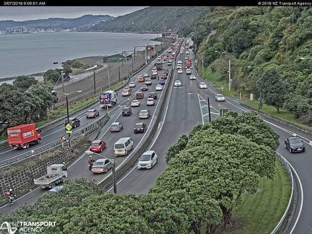 Southbound traffic on SH2 from the Petone off-ramp about 8.10am. Photo / NZTA Journey Planner