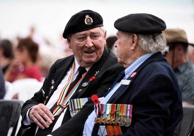 Mount Maunganui RSA members and WWII veterans Paul Shephard, left, and Bill Chapman, at an Armistice Day service. Photo / George Novak