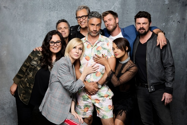 Rachel House, Mark Ruffalo, Cate Blanchett, Jeff Goldblum, Taika Waititi, Chris Hemsworth, Tessa Thompson and Karl Urban. Photo / Getty Images