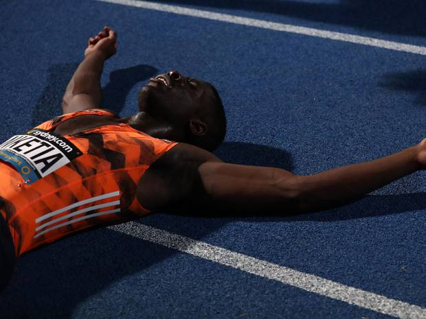 Edward Nketia of ACT/NZL reacts after winning the Mens 100 Metres Open final. Photo / Getty Images.