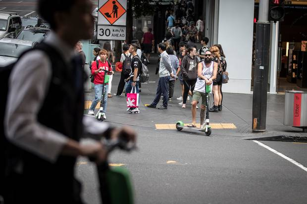 Lime scooters are being dumped from Auckland's streets. Photo / Michael Craig.