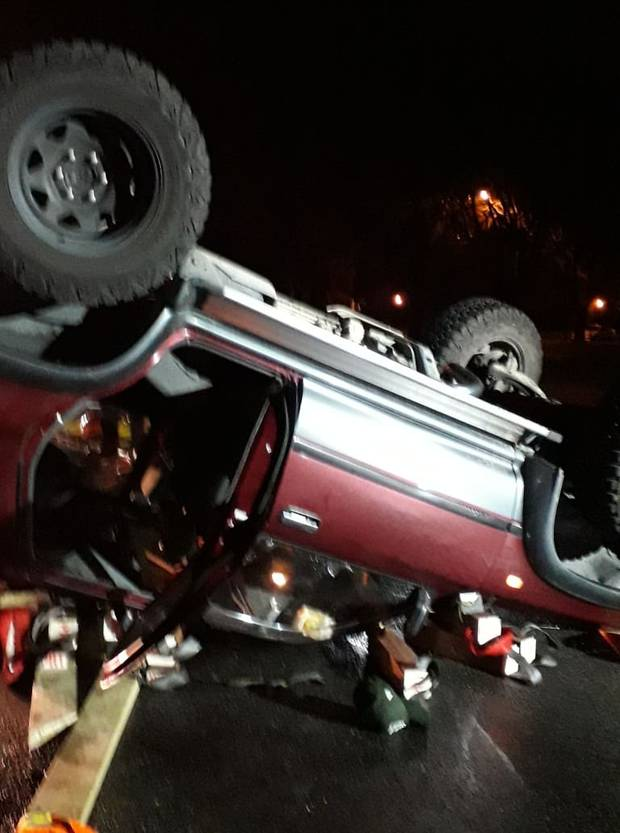 The single vehicle crash on Cresswell Ave was reported to emergency services at 9pm. Photo / Supplied