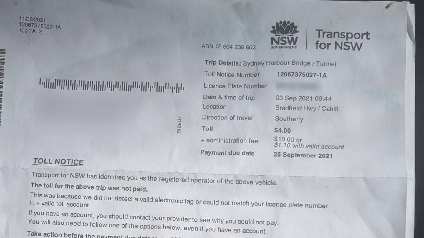 An example of a penalty notice for unpaid tolls. Photo / news.com.au