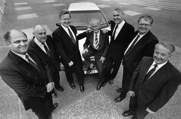 Former NZ Prime Ministers, from left, Mike Moore, Robert Muldoon, Jim Bolger, former parliamentary driver Tony Healy, Geoffrey Palmer, David Lange and Wallace Rowling in 1991.