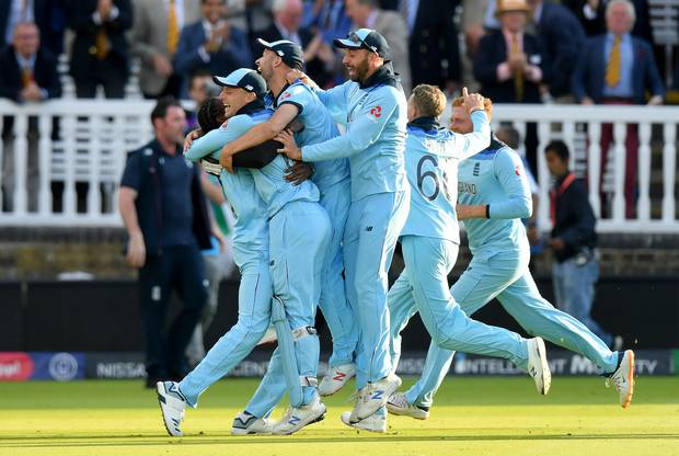 England celebrate after claiming the World Cup after a dramatic super over victory over New Zealand. Photo / Getty