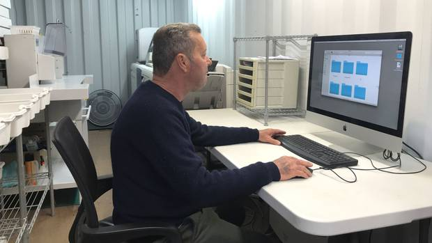 Small business tapping into the again growing greeting card market mark baigent founder of nz art cards at work in his shipping container office m4hsunfo
