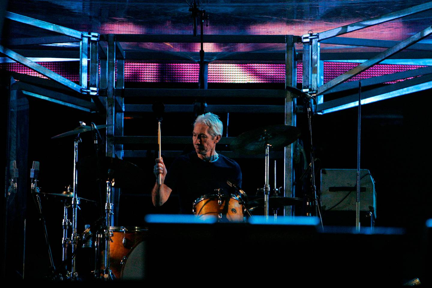 Rolling Stones drummer Charlie Watts in action, at the Rolling Stones Concert atWestern Springs, Aucklandin April 2006. Photo / File