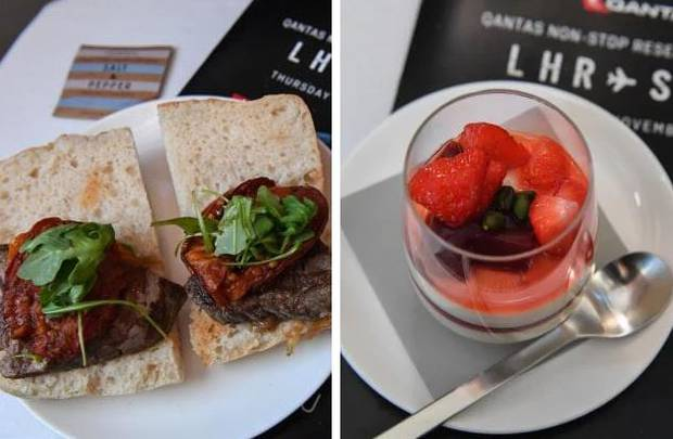 Carb-heavy meals like steak sandwiches were served up, (left), and then followed by a creamy dessert. Photos / Qantas via AP