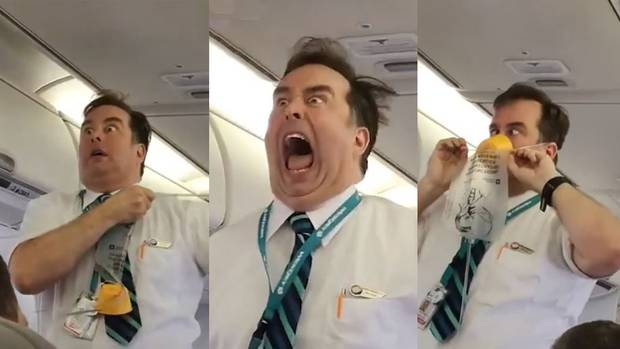 Celebrity: Westjet attendant McAdam has been perfecting his act for almost 10 years. Photo / Supplied, Facebook
