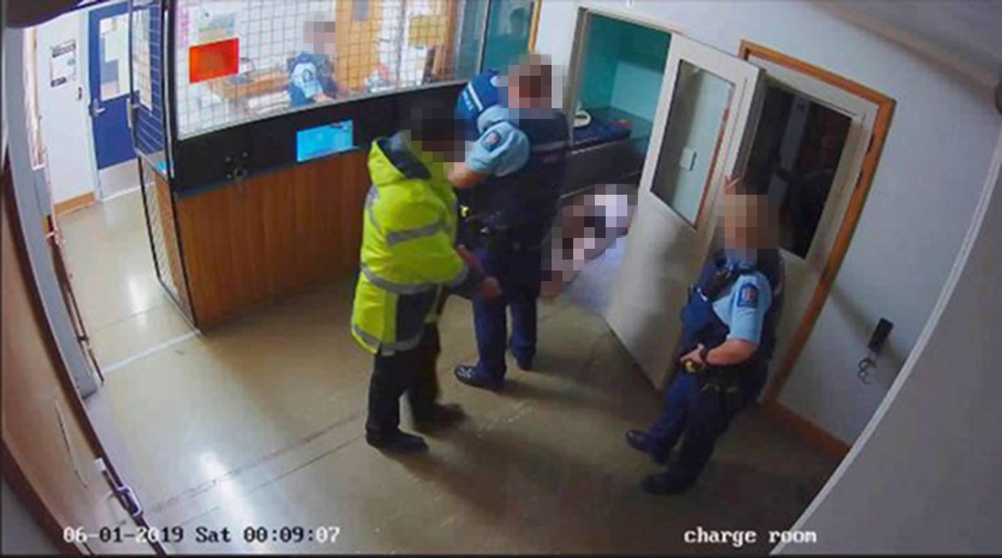 A CCTV image from inside the Hawera Police Station showing Allen Ball lying on the ground inside cell one. Photo / NZ Police