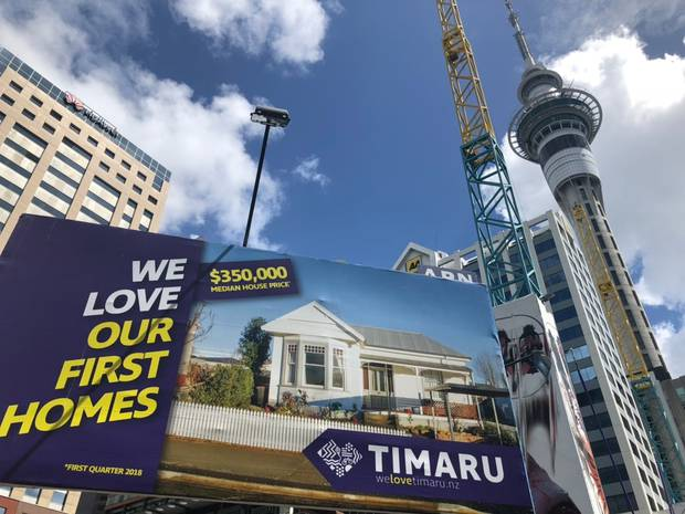 The new billboard campaign promotes cheap Timaru houses to Aucklanders.