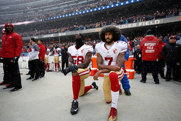 Colin Kaepernick triggered a political firestorm after kneeling during the US national anthem in 2016 to protest racial injustice. He has not played in the NFL since. Photo / Getty Images