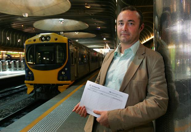 Jon Reeves, from public transport lobby group Campaign For Better Transport, wants trains to run from Britomart to Auckland Airport. Photo / Brett Phibbs