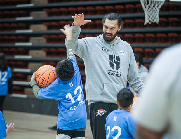Steven Adams, seen here with children in Napier, is credited with boosting high-school basketball players by 53 per cent. Photo / Warren Buckland, Hawke's Bay Today