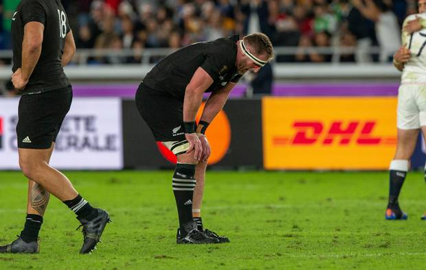 All Blacks captain Kieran Read hunched over in defeat. Photo / Mark Mitchell