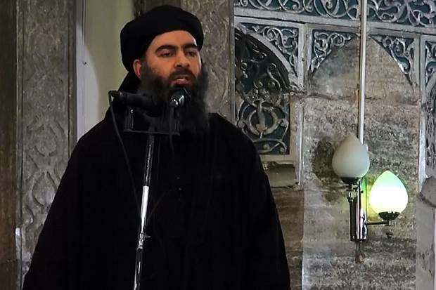 A video screengrab showing alleged Islamic State leader Abu Bakr al-Baghdadi preaching in Mosul in 2014. Photo / Getty Images