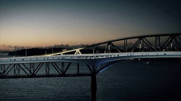 The Shared Path will provide a five-metre-wide path flanking the Harbour Bridge's southbound traffic side. Photo / NZTA