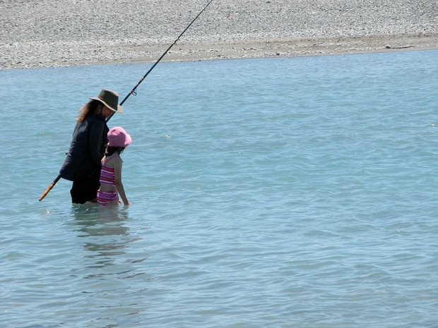 Film-maker Gaylene Barnes, wading through the Rakaia River. Photo / Supplied