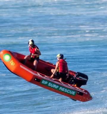 9e453f8935fbe ... Papamoa s Meg Fisher (driving) and Viv Conway hit a wave during the  assembly rescue