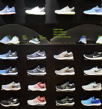 03b880ee3b5 ... Footwear is displayed for sale in a Nike store at the Vincom Center  shopping mall in