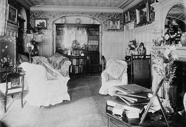 Inside the drawing room at York Cottage at Sandringham pictured in October 1897. Photo / Daily Mail