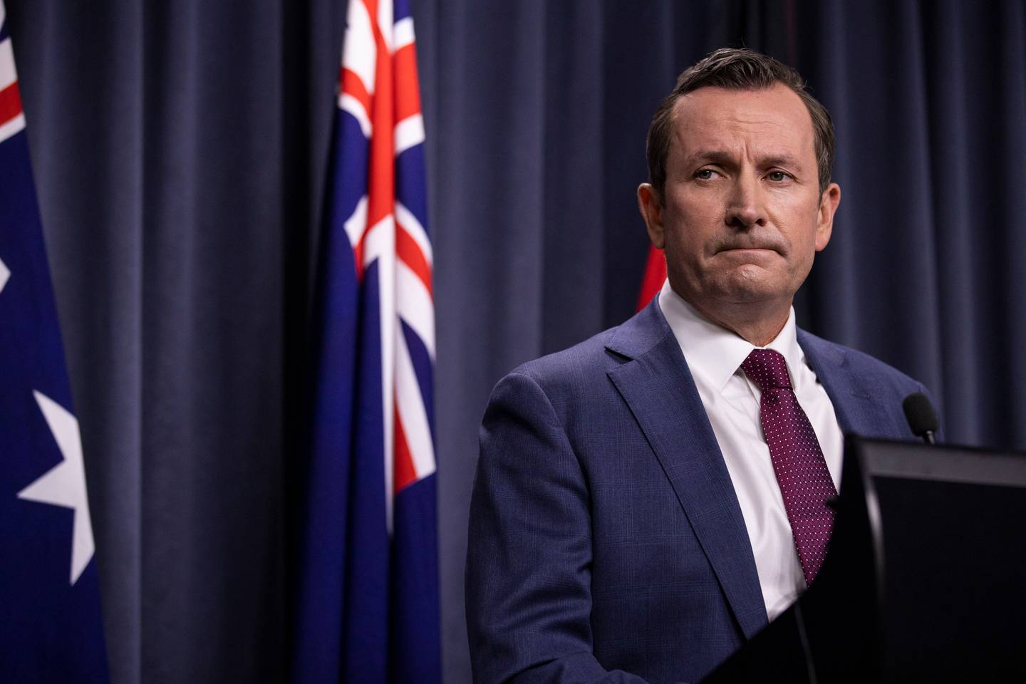 Western Australian Premier Mark McGowan speaks to the media during a press conference. Photo / Getty Images