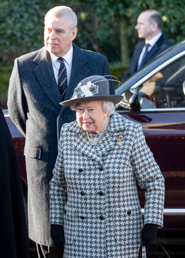 Queen Elizabeth II and Prince Andrew, Duke of York attend church. Photo / Getty