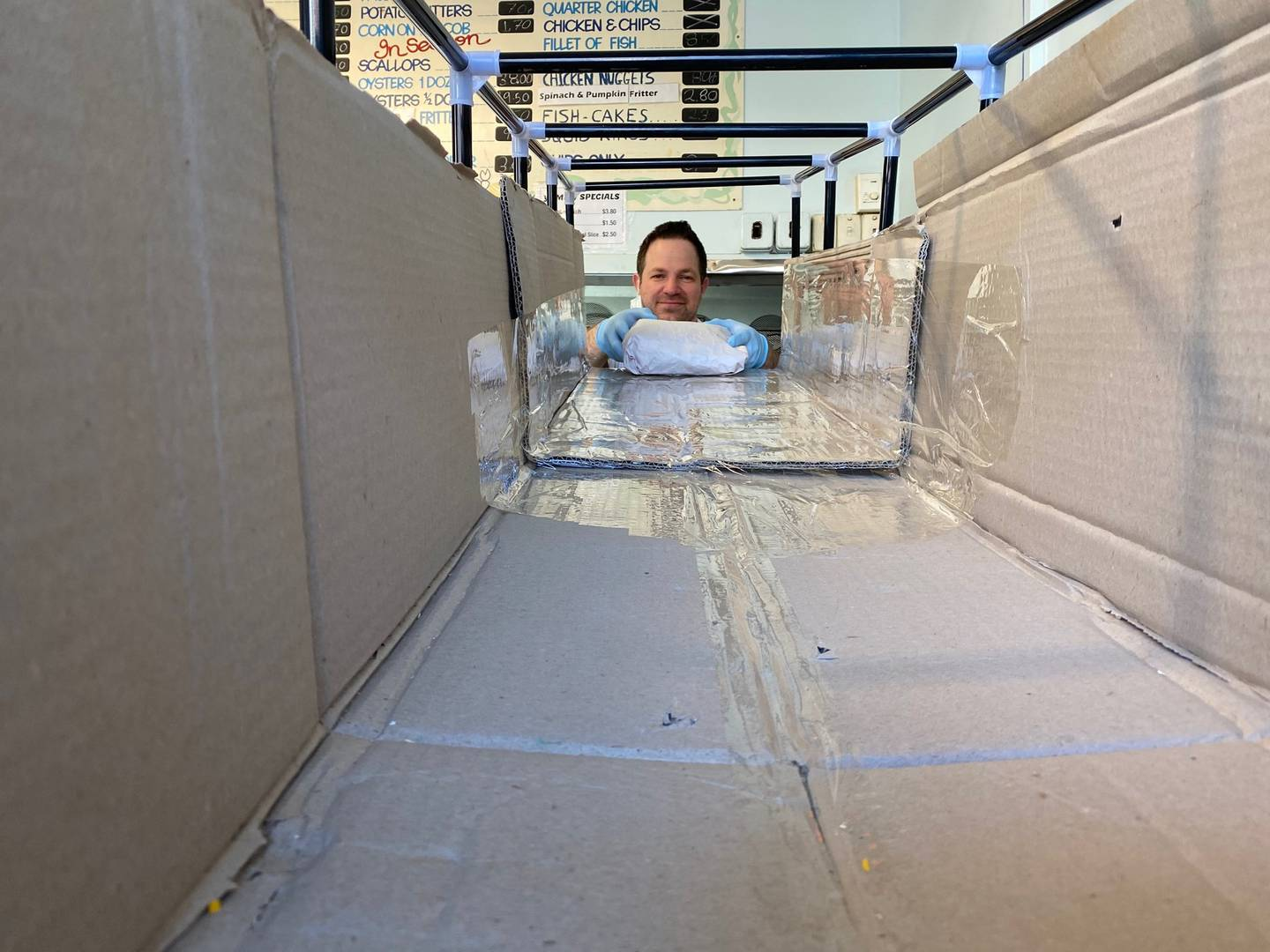 The slide was reconstructed from a temporary wardrobe and cardboard boxes. Photo / Supplied