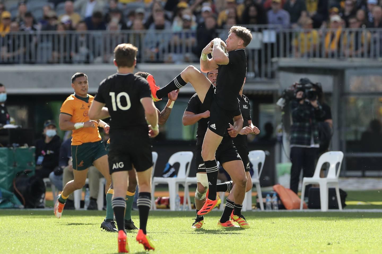 Jordie Barrett kicks Marika Koroibete in the face while contesting a high ball in Perth. Photo / Photosport