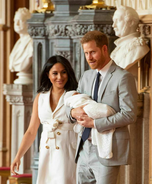 Meghan, Duchess of Sussex, wore a bespoke belted dress by British designer Grace Wales Bonner as she presented baby Archie to the world with Prince Harry. Photo / AP