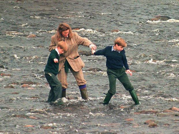 Tiggy and the Princes on the Balmoral Estate in 1994. Photo / Getty