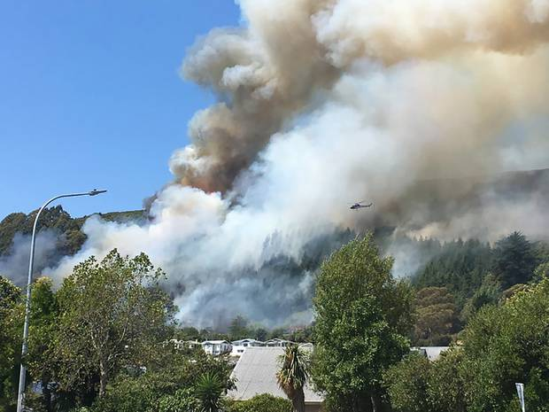 Bush fires on the outskirts of Nelson. Photo / Facebook