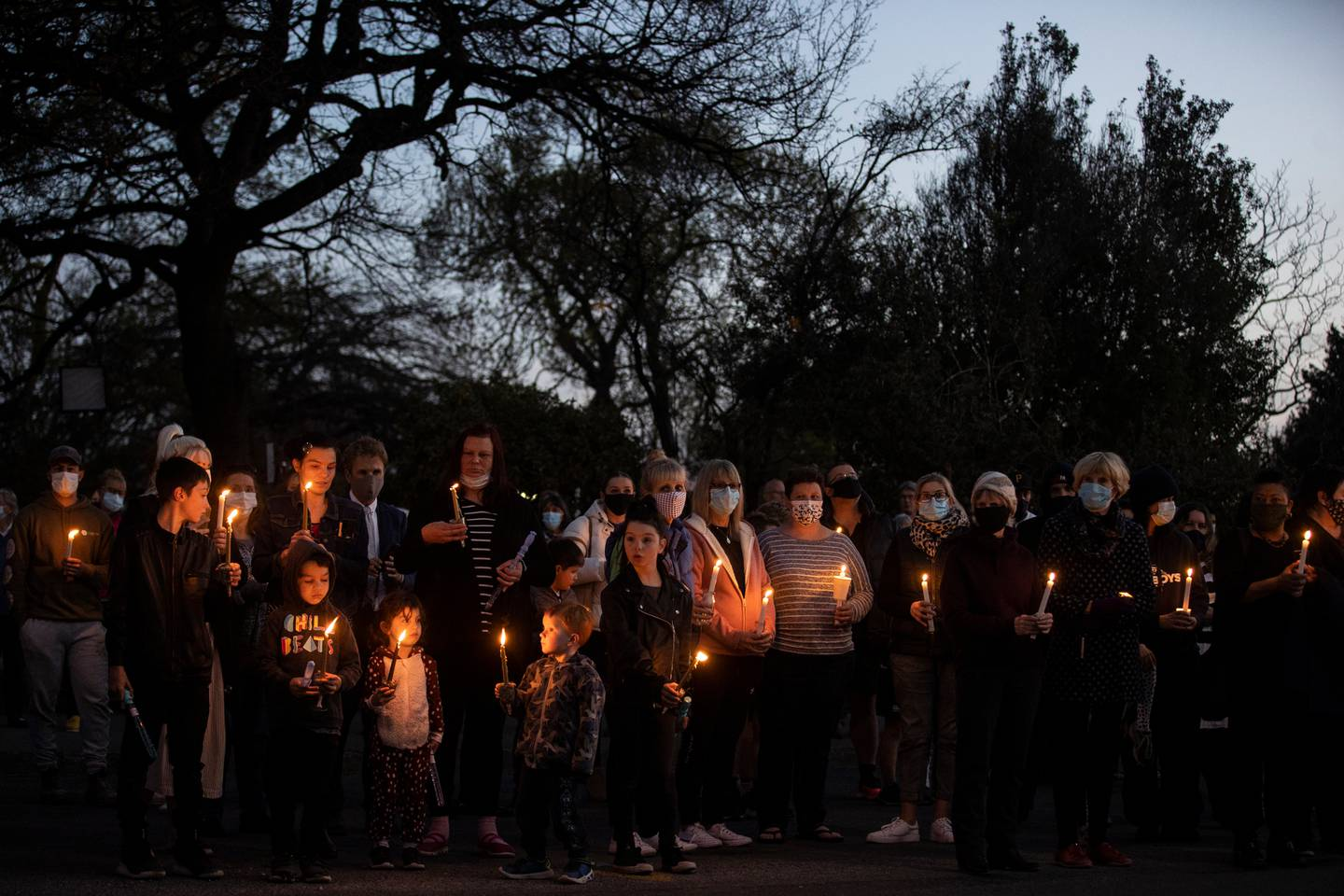 Several hundred people attended the vigil in Timaru last night. Photo / George Heard
