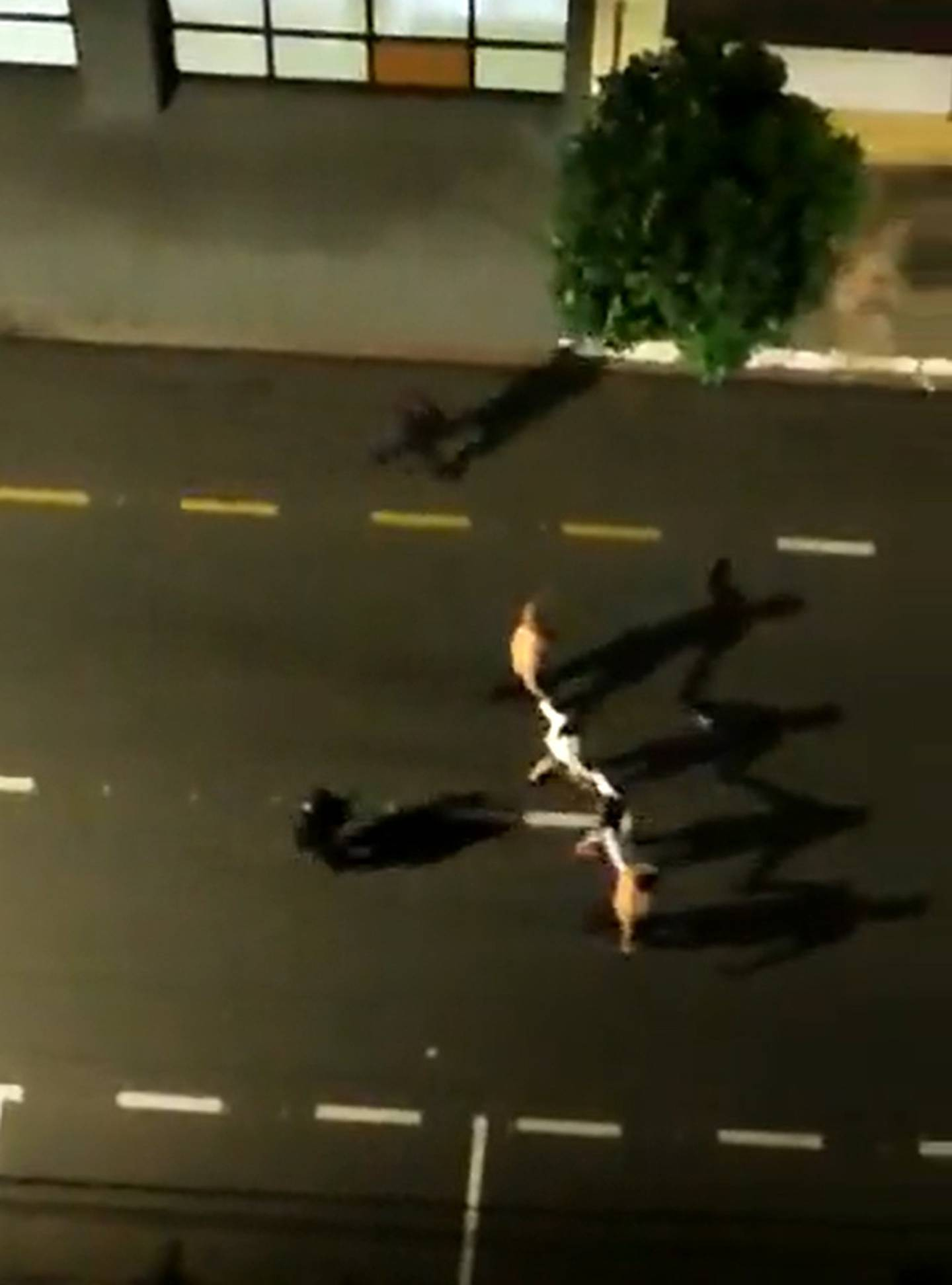 Hostages are marched down the street at gunpoint. Photo / Twitter/@reporterenato