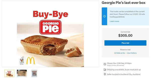 Here is your chance to grab the last ever box of 42 frozen Georgie Pies. All funds will go to Ronald McDonald House Charities. Photo / Trade Me